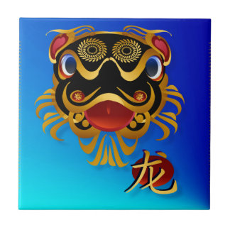 Black n Gold Chinese Dragon Face and Symbol Tiles