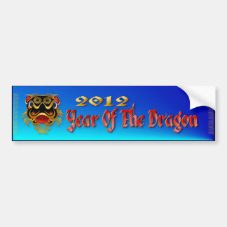 Black 'n Gold Chinese Dragon Face  Bumper Sticker
