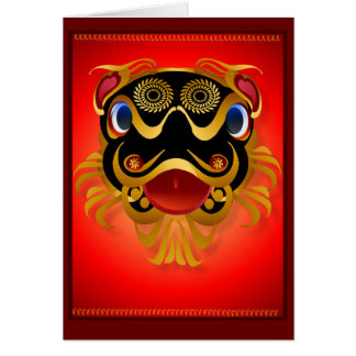 Black 'n Gold Chinese Dragon Face  Cards