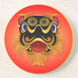 Black 'n Gold Chinese Dragon Face Coasters