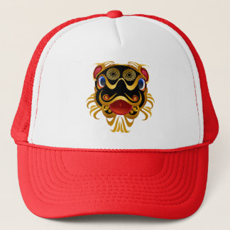 Black 'n Gold Chinese Dragon Face Hats