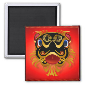 Black 'n Gold Chinese Dragon Face Magnet