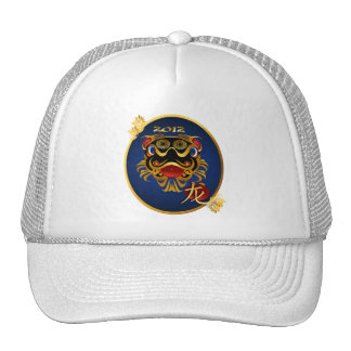 Black 'n Gold Chinese Dragon Face Oval Hat