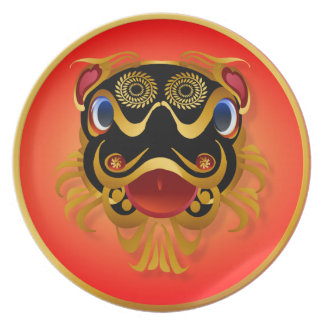 Black 'n Gold Chinese Dragon Face  Plates