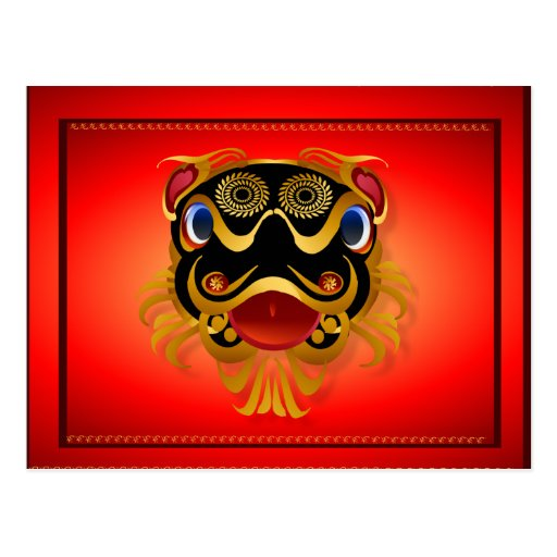 Black 'n Gold Chinese Dragon Face Postcards
