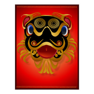 Black 'n Gold Chinese Dragon Face  Posters