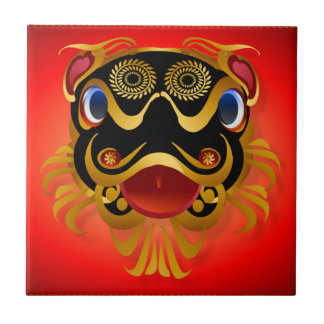 Black 'n Gold Chinese Dragon Face Tiles 'n' Trivet