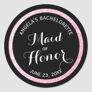 Black n Pink Glitter Maid of Honor Bachelorette Classic Round Sticker