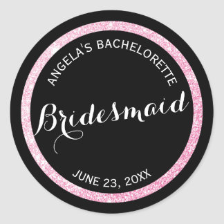 Black n Pink Glitter Matron of Honor Bachelorette Classic Round Sticker