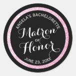 Black n Pink Glitter Matron of Honor Bachelorette Classic Round Sticker