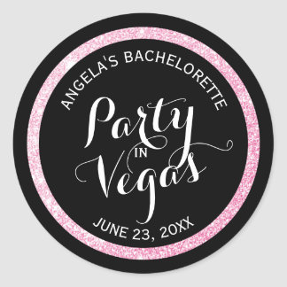 Black n Pink Glitter Party in Vegas Bachelorette Classic Round Sticker