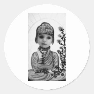 black n white baby  Buddha (2) Classic Round Sticker
