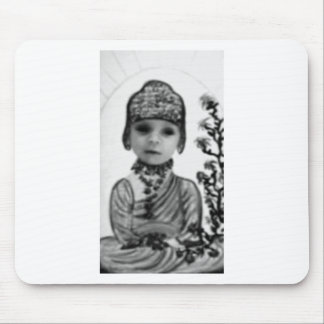 black n white baby Buddha 2 Mousepad