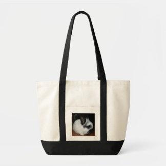 Black n White Baby Bunny Tote Bags