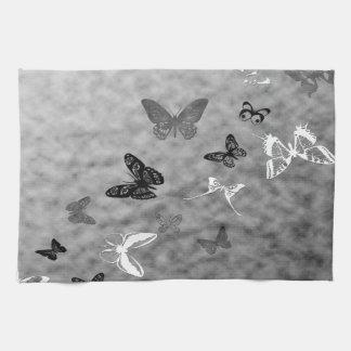 Black N White Butterflies Kitchen Towel