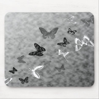 Black n White Butterflies Mouse Pad