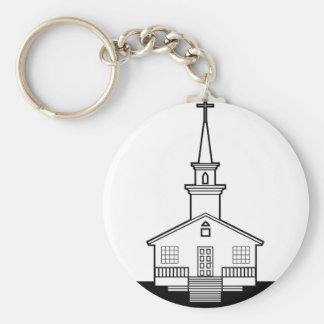 Black-n-White Church Basic Round Button Keychain