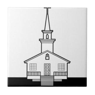 Black-n-White Church Ceramic Tile