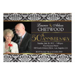Black n white damask golden wedding anniversary invitations