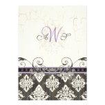 Black 'n White Damask (lilac) Wedding Invitation