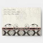 Black 'n White Damask Pink Custom Wedding Invites Envelopes