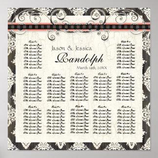 Black 'n White Damask Pink Wedding Seating Chart