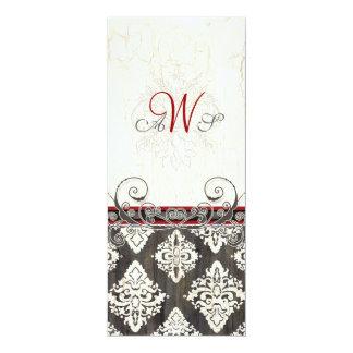 Black 'n White Damask (red) Wedding Invitation
