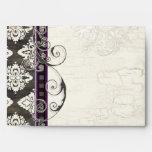 Black 'n White Damask w/ Purple Wedding Envelopes