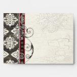 Black 'n White Damask w/ Red Wedding Envelopes