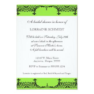 Black n White Fleur de Lis Damask Bridal Shower Invitation