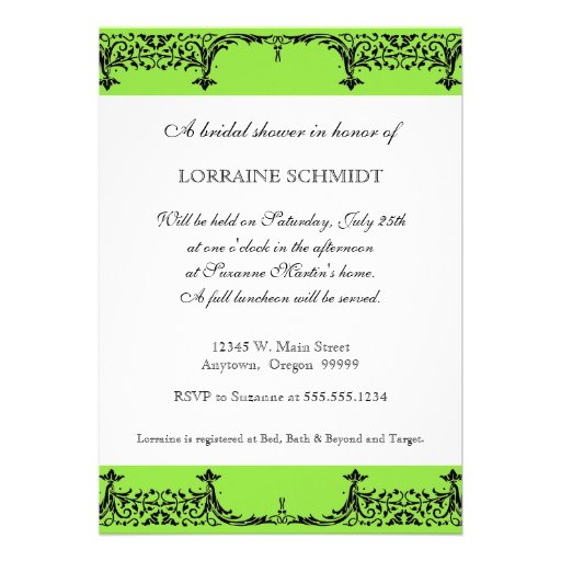 Black n White Fleur de Lis Damask Bridal Shower Invitations