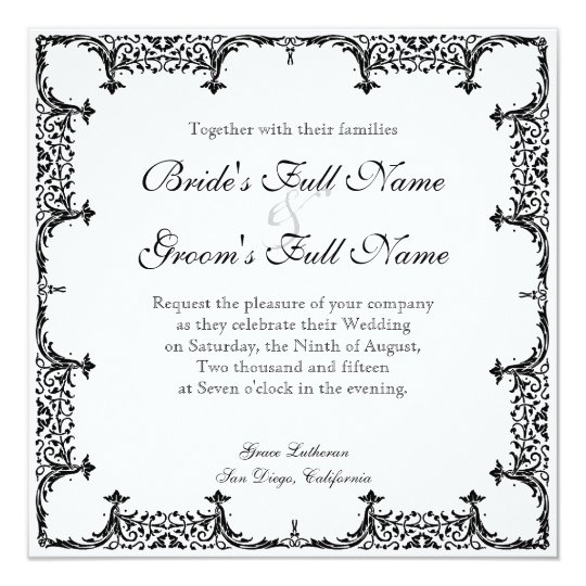 Black n White Fleur de Lis Damask Wedding Card
