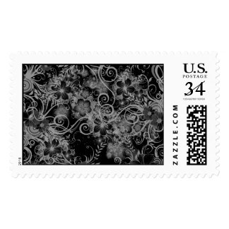 Black n White Floral Pattern Postage Stamps