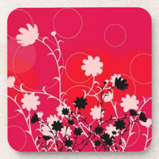 Black n white flowers- cork coasters -set of 6