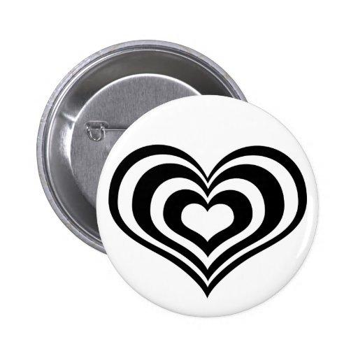 Black n white heart button