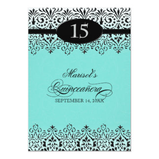 Black n White Lace Look Silver 15th Quinceanera Card