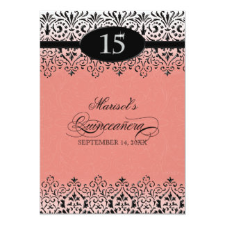 """Black n White Lace Look Silver 15th Quinceanera 5"""" X 7"""" Invitation Card"""