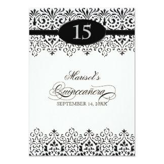 Black n White Lace Look Silver 15th Quinceanera Invite