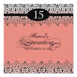 "Black n White Lace Look Silver 15th Quinceanera 5.25"" Square Invitation Card"