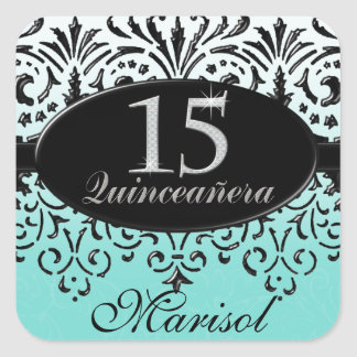 Black n White Lace Look Silver 15th Quinceanera Square Sticker