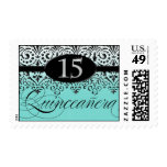 Black n White Lace Look Silver 15th Quinceanera Stamps