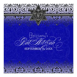 Black n White Lace Look Silver Bat Mitzvah Invite