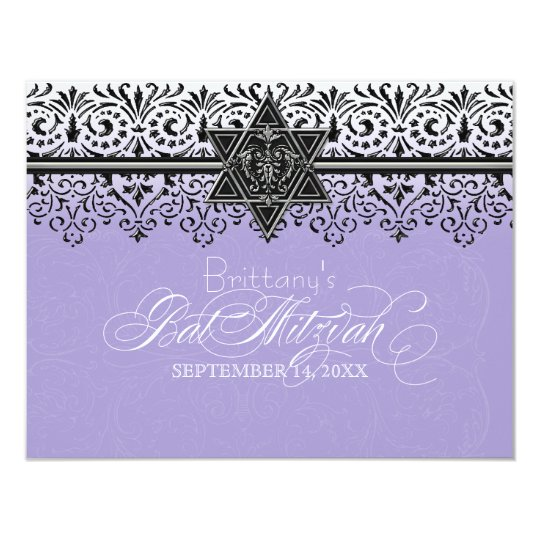Black n White Lace Look Silver Bat Mitzvah Invite