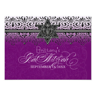 "Black n White Lace Look Silver Bat Mitzvah Invite 5.5"" X 7.5"" Invitation Card"
