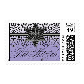 Black n White Lace Look Silver Bat Mitzvah Postage