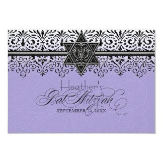 Black n White Lace Look Silver Bat Mitzvah RSVP Card