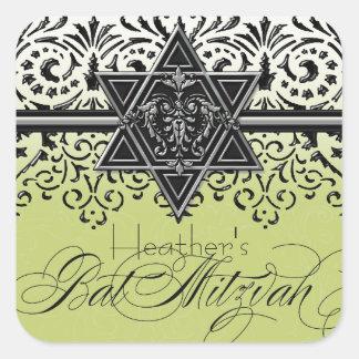 Black n White Lace Look Silver Bat Mitzvah Sticker