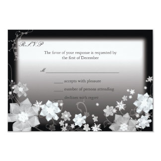 Black n White Modern Christmas Wedding RSVP Card