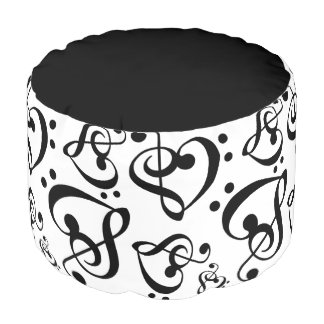 Black N White Music Notes Bass Treble Clef Hearts Pouf