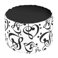 Black N White Music Notes Bass Treble Clef Hearts Round Pouf